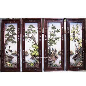 Tranh tứ quý nổi men màu khung gỗ gụ vẽ kỹ 128x45 cm