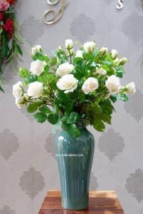 Lọ hoa men hỏa biến dáng đùi dế xanh ngọc