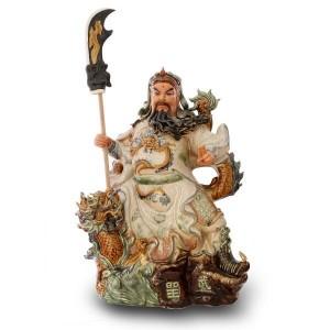 Tượng Quan Công cầm đao cưỡi rồng cao 65cm